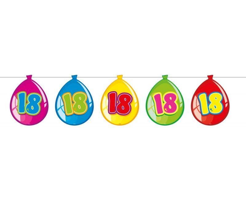 Papieren ballonnen slinger 18 jaar