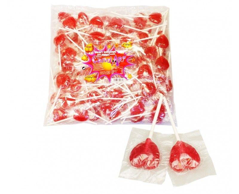 Verpakt snoep Lolly Hartje 10 stuks