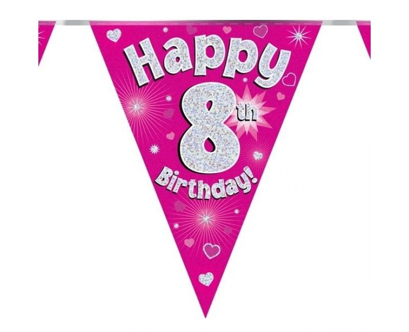 Vlaggenlijn Happy 8th Birthday roze holografisch, 3.9 mtr