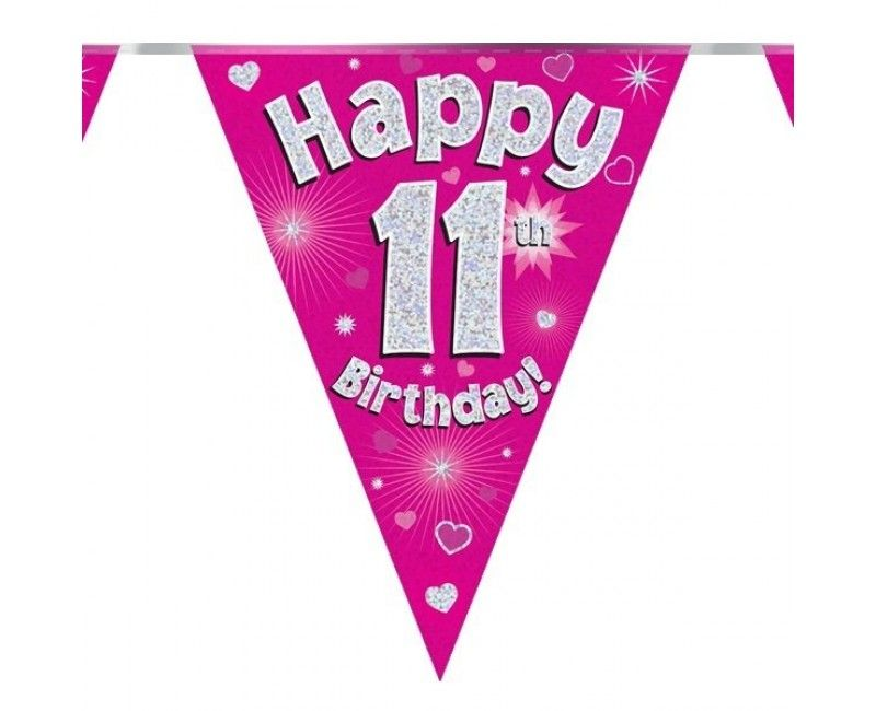 Vlaggenlijn Happy 11th Birthday roze holografisch, 3.9 mtr
