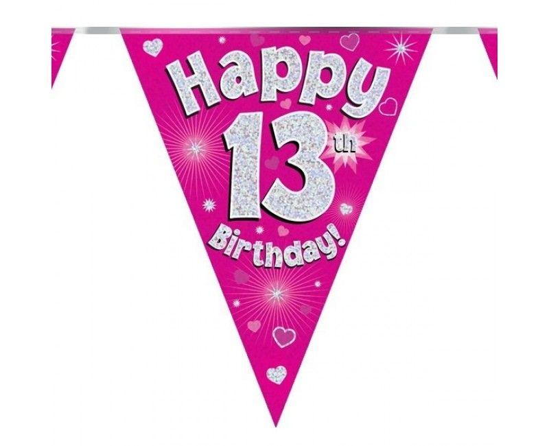 Vlaggenlijn Happy 13th Birthday roze holografisch, 3.9 mtr