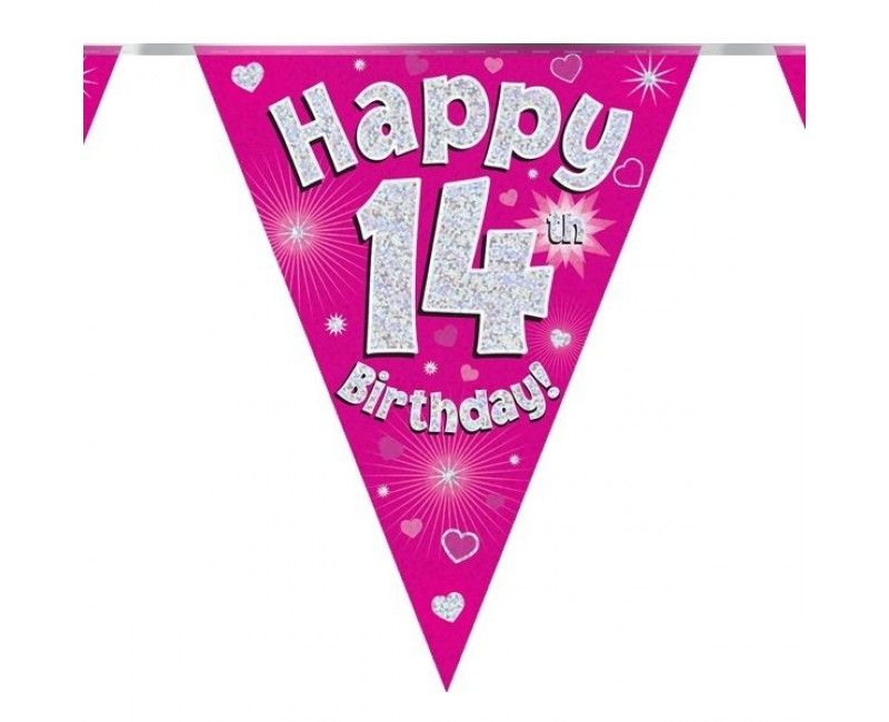 Vlaggenlijn Happy 14th Birthday roze holografisch, 3.9 mtr