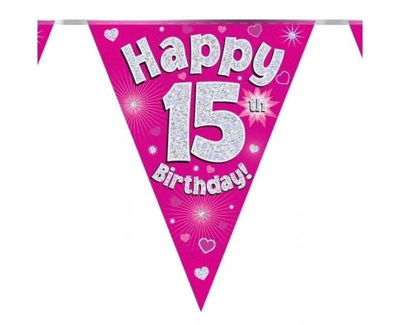 Vlaggenlijn Happy 15th birthday roze holografisch, 3.9 mtr