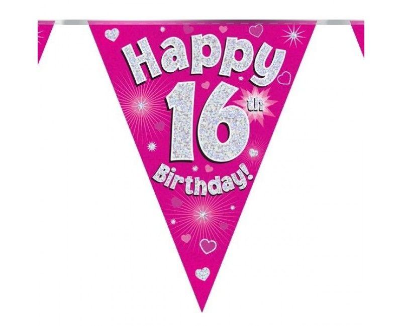 Vlaggenlijn Happy 16th birthday roze holografisch, 3.9 mtr
