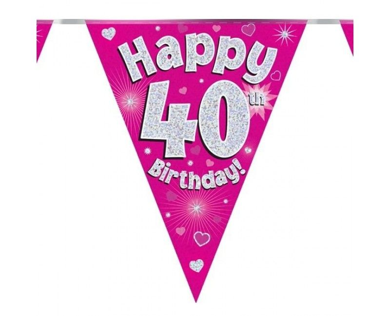 Vlaggenlijn Happy 40th birthday roze holografisch, 3.9 mtr