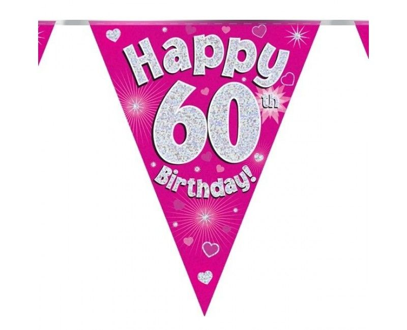 Vlaggenlijn Happy 60th birthday roze holografisch, 3.9 mtr