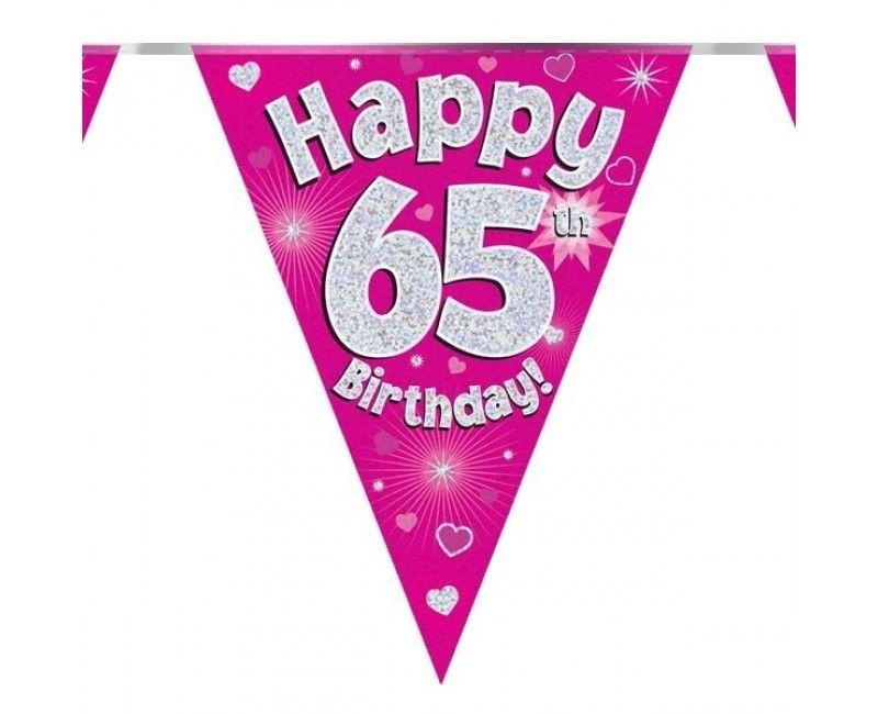 Vlaggenlijn Happy 65th birthday roze holografisch, 3.9 mtr