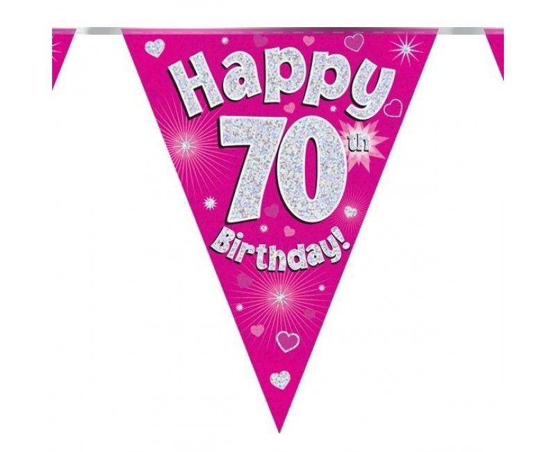 Vlaggenlijn Happy 70th birthday roze, holografisch