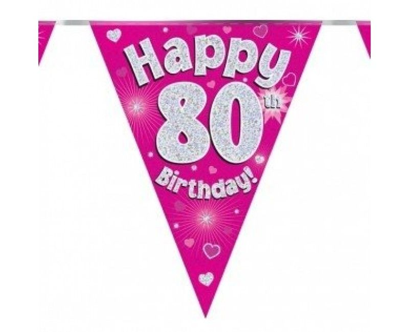 Vlaggenlijn Happy 80th birthday roze, holografisch