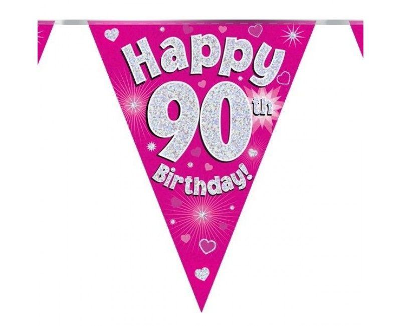 Vlaggenlijn holografisch Happy 90th birthday roze, 3.9 mtr
