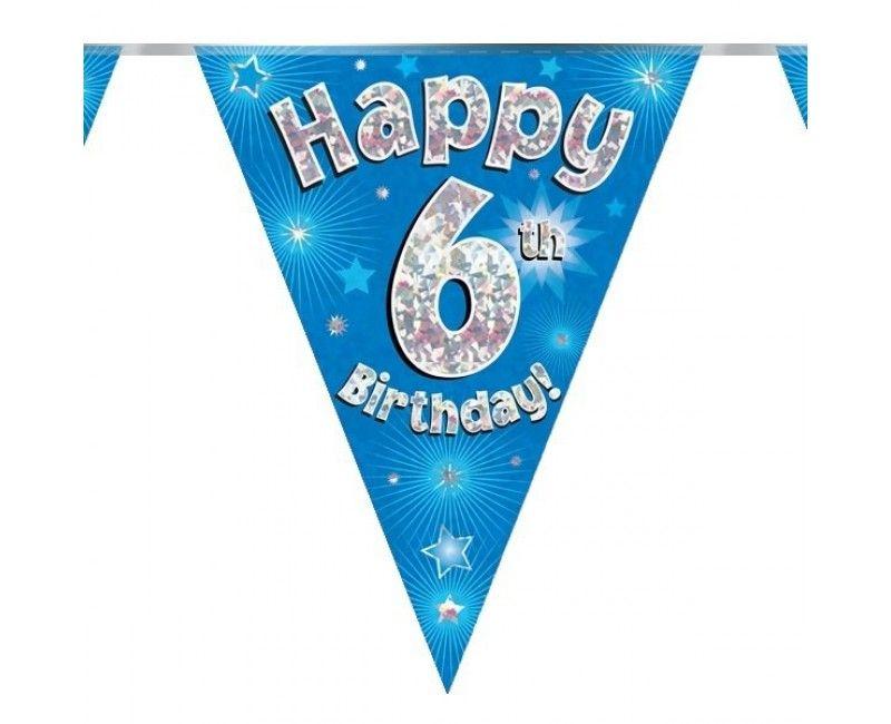 Vlaggenlijn holografisch Happy 6th birthday blauw, 3.9 mtr