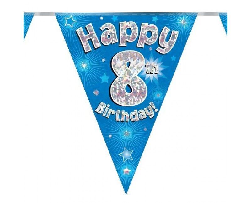 Vlaggenlijn holografisch Happy 8th birthday blauw, 3.9 mtr