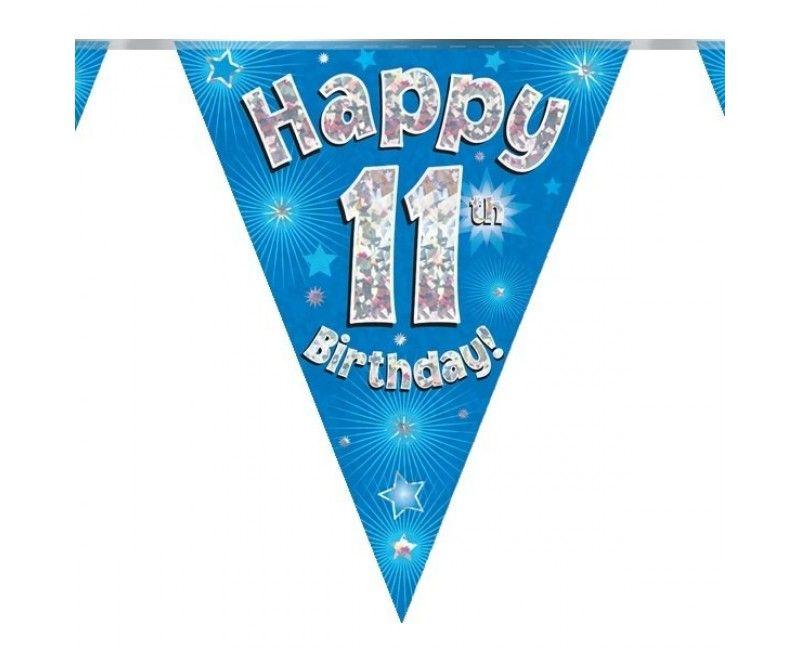 Vlaggenlijn holografisch Happy 11th birthday blauw, 3.9 mtr