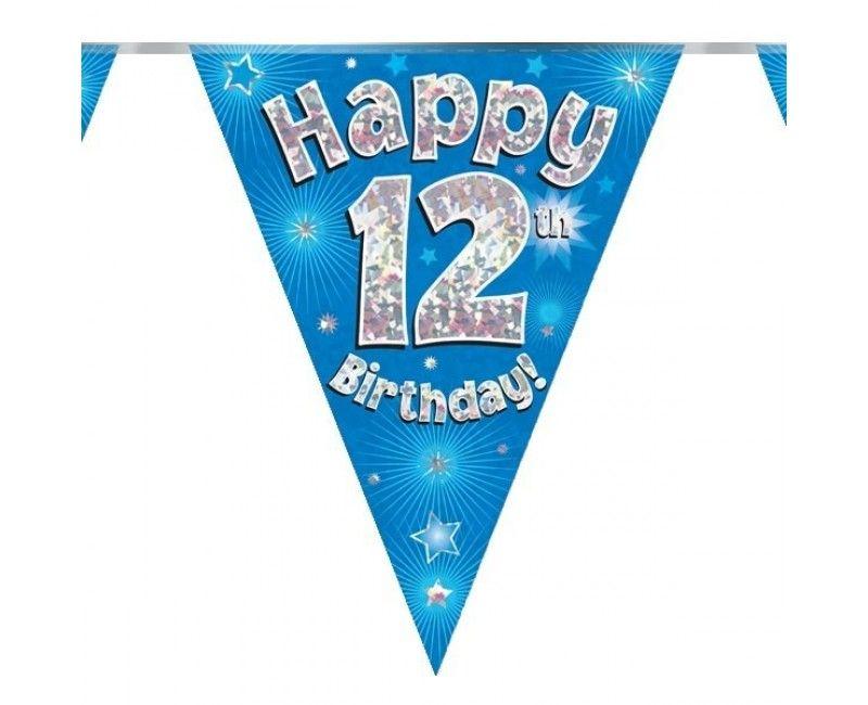 Vlaggenlijn holografisch Happy 12th birthday blauw, 3.9 mtr