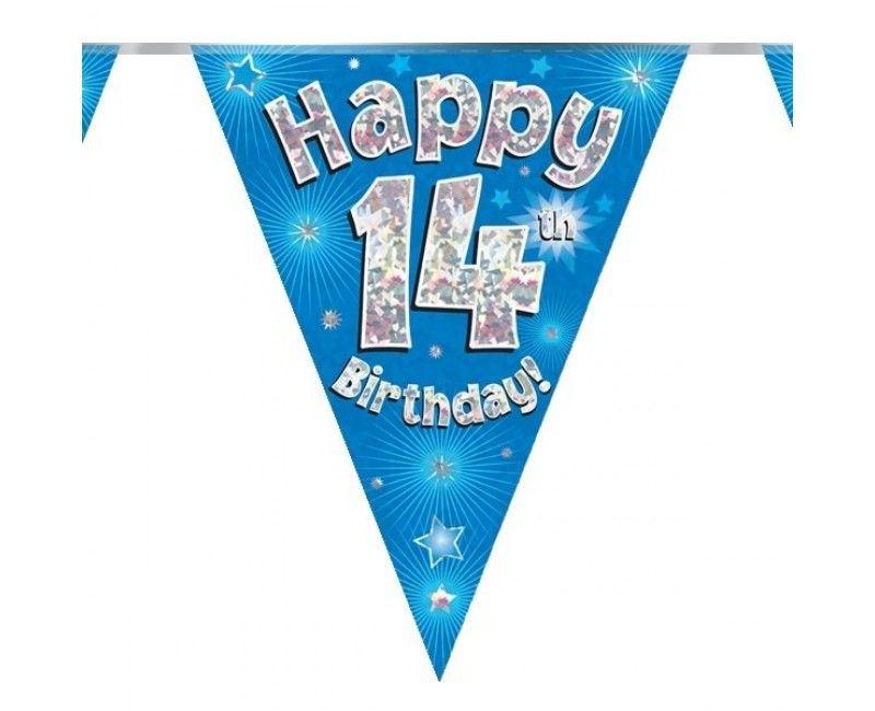 Vlaggenlijn holografisch Happy 14th birthday blauw, 3.9 mtr