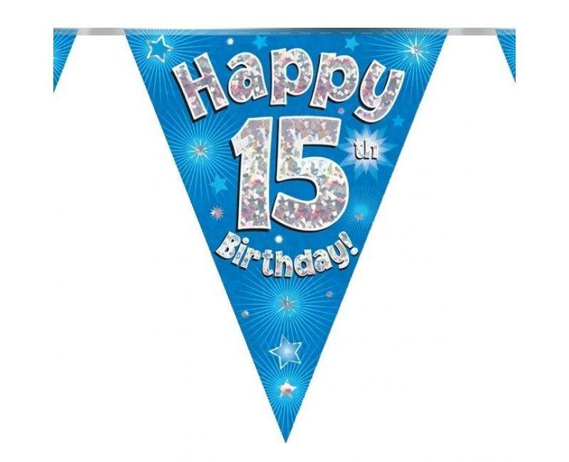 Vlaggenlijn holografisch Happy 15th birthday blauw, 3.9 mtr