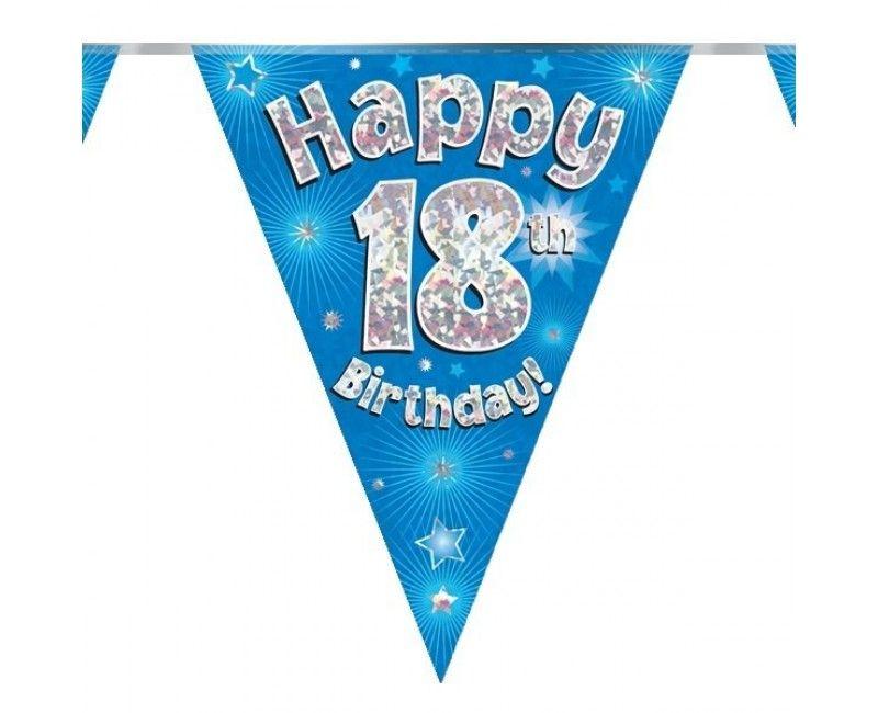 Vlaggenlijn holografisch Happy 18th birthday blauw, 3.9 mtr