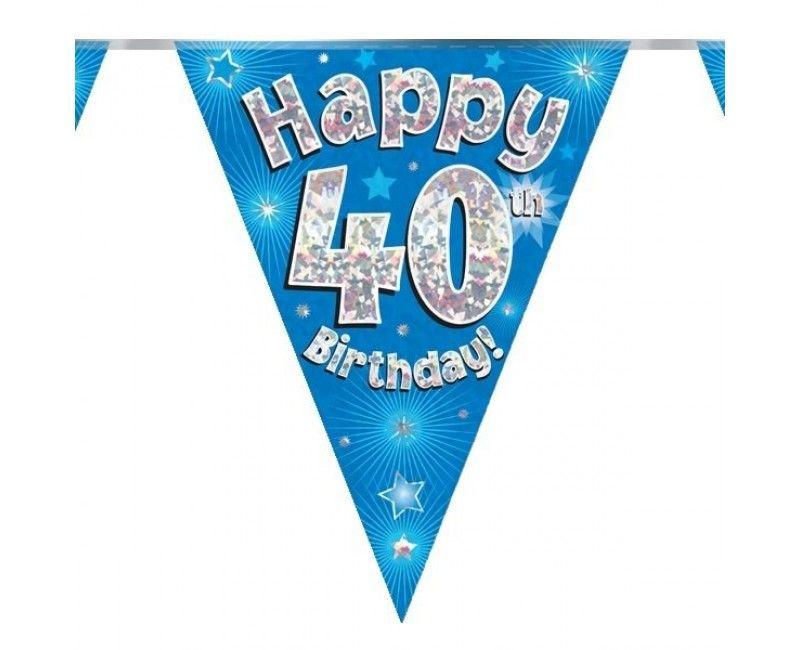Vlaggenlijn holografisch Happy 40th birthday blauw, 3.9 mtr