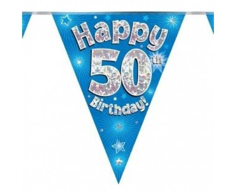 Vlaggenlijn holografisch Happy 50th birthday blauw, 3.9 mtr