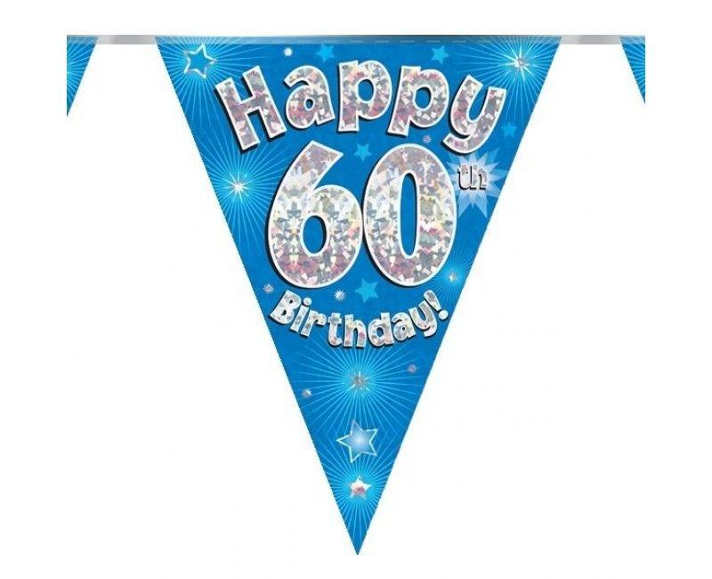 Vlaggenlijn holografisch Happy 60th birthday blauw, 3.9 mtr