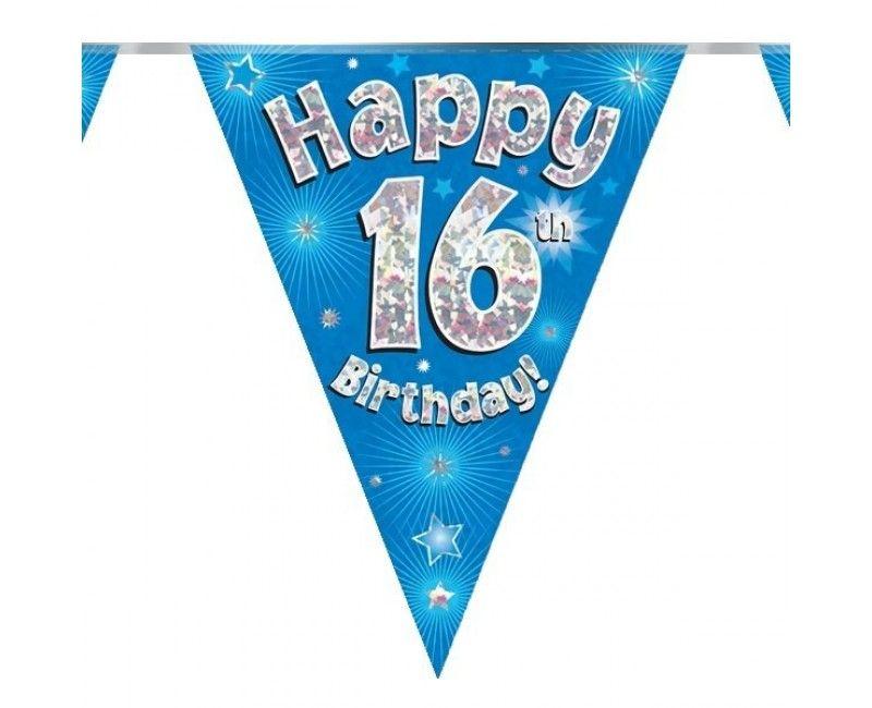 Vlaggenlijn holografisch Happy 16th birthday blauw, 3.9 mtr
