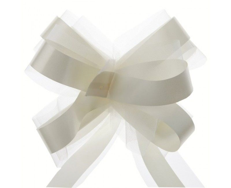 Trekstrik met tule wit - crème wit, 5 stuks