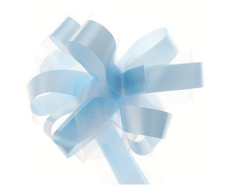 Trekstrik met tule wit/lichtblauw 5 stuks