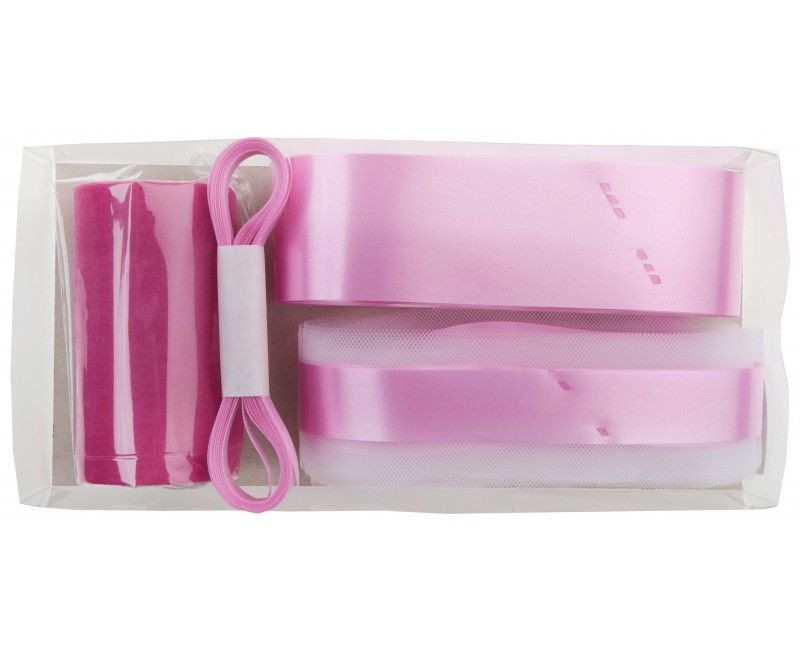 Trouwauto decoratie set roze, 6-delig