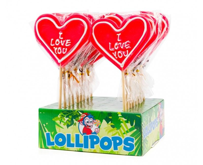 Hart lolly XL 80 gram I love you, per stuk