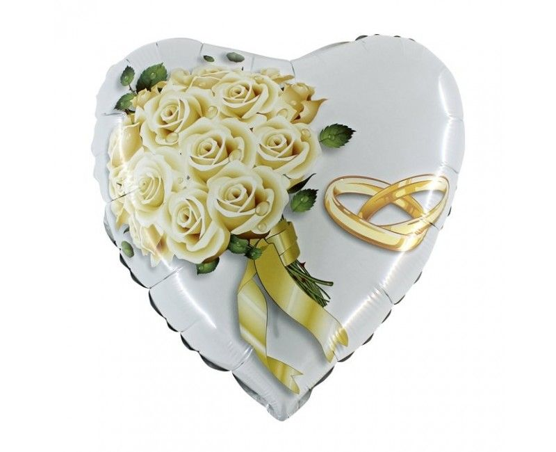 Folieballon white roses bouquet 46cm
