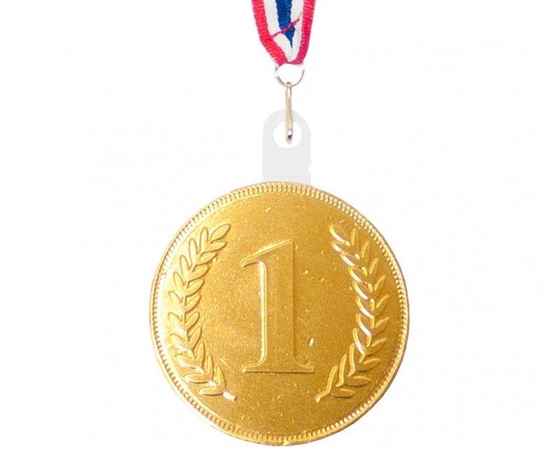 Verpakt snoep chocolade medaille met lint, per stuk