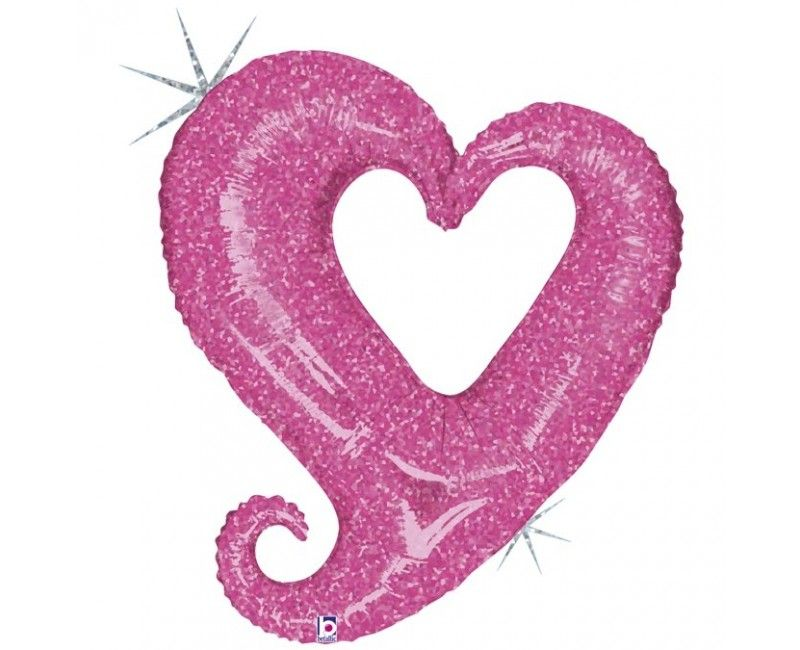 Folieballon chain of hearts pink
