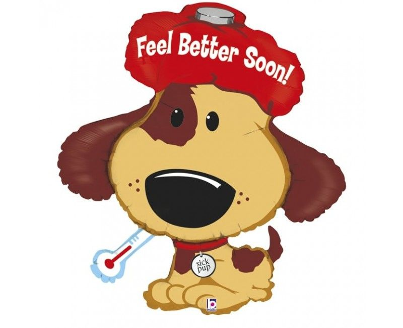 Folieballon feel better sick puppie 94cm
