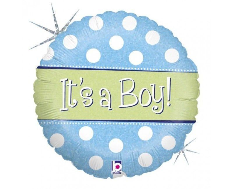 Folieballon 45cm It's a boy lichtblauw met witte stippen
