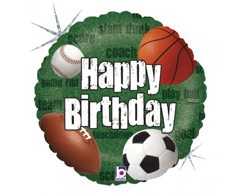 Folieballon 45cm Happy birthday sportballen