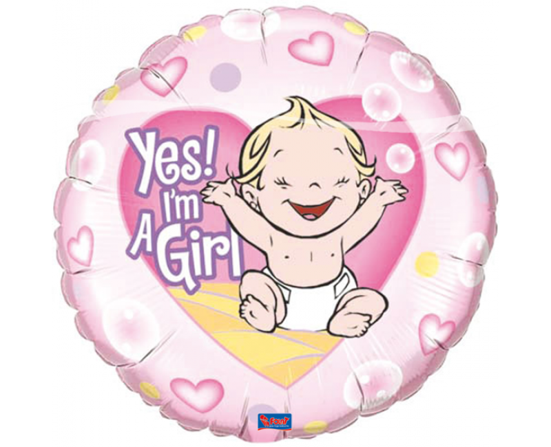 Folieballon Yes I'm a girl