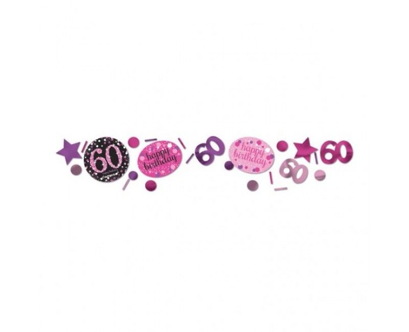Tafelconfetti sparkling Happy Birthday pink 60 jaar