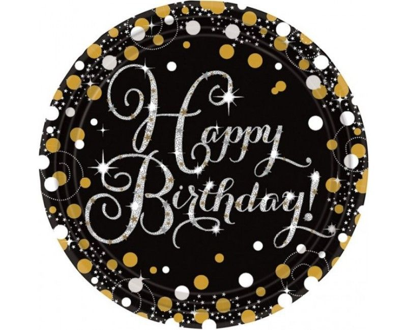 Borden sparkling Happy Birthday goud, 8 stuks
