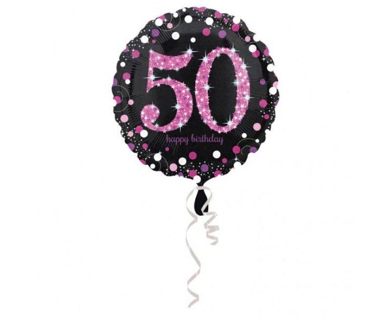 Folieballon sparkling Happy Birthday pink 50 jaar