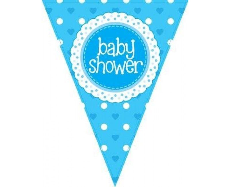 Vlaggenlijn Babyshower boy lichtblauw, 3.9 mtr