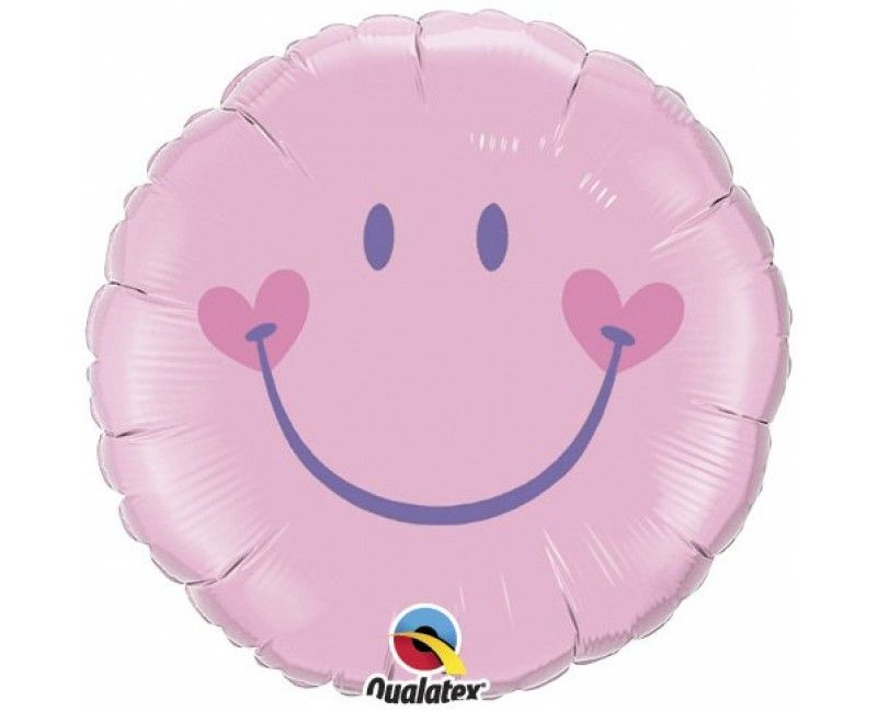 Folieballon 45cm emoticon smiley pink