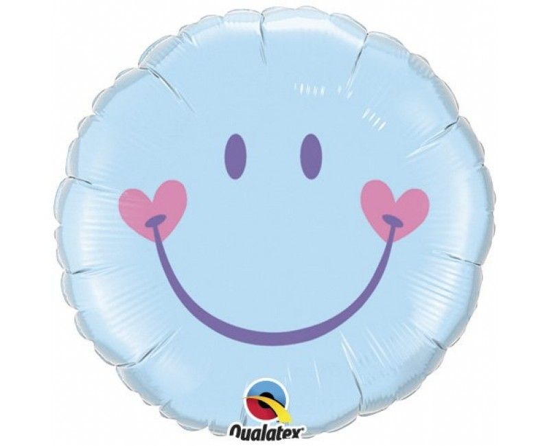 Folieballon 45cm emoticon smiley blue