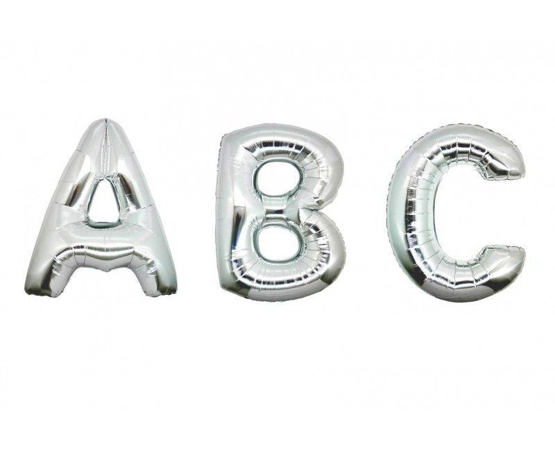 Folieballon letters 100 cm zilver