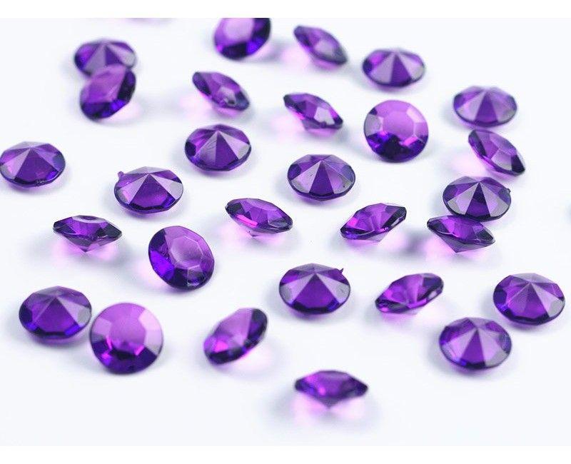 Kristal diamant confetti plum 12mm, zakje 100 stuks