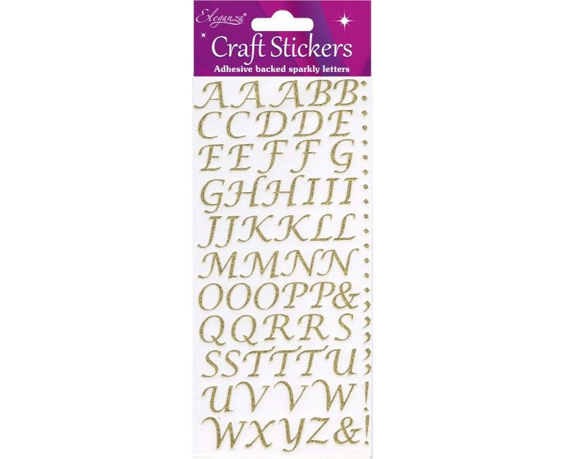 Craft sticker set alfabet style goud glitter, 14 - 17mm