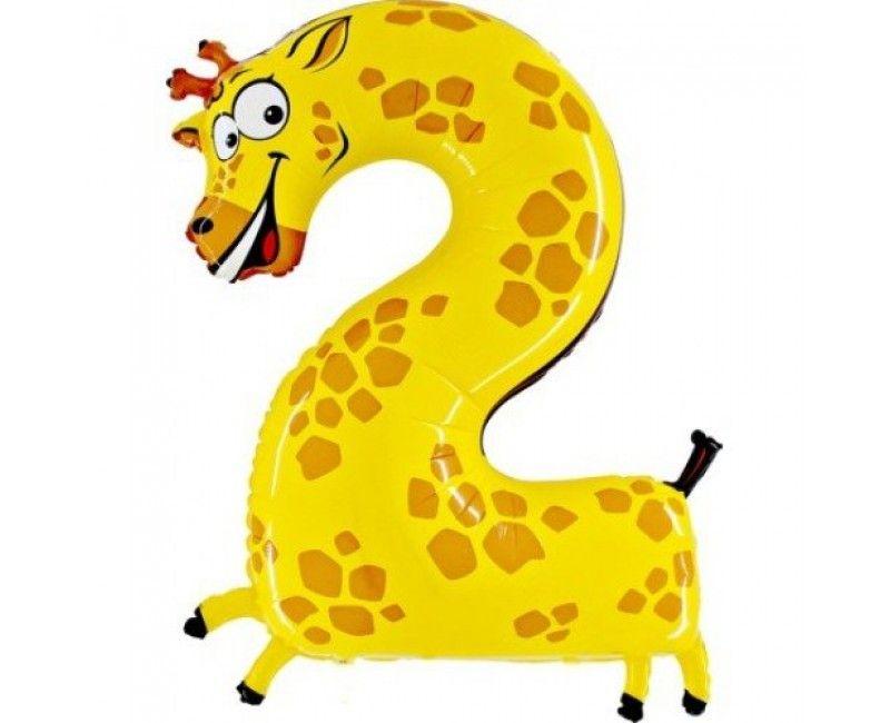 Folieballon cijfers 100cm Animaloon 2 giraffe