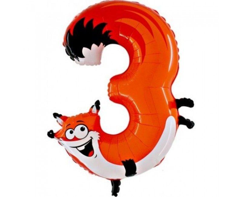 Folieballon cijfers 100cm Animaloon 3 vos