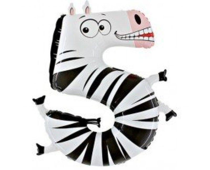 Folieballon cijfers 100cm Animaloon 5 zebra