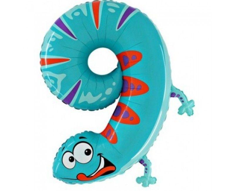 Folieballon 100cm Animaloon cijfer 9 gekko