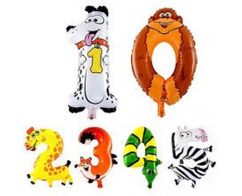 Folieballon cijfers 100cm Animaloons
